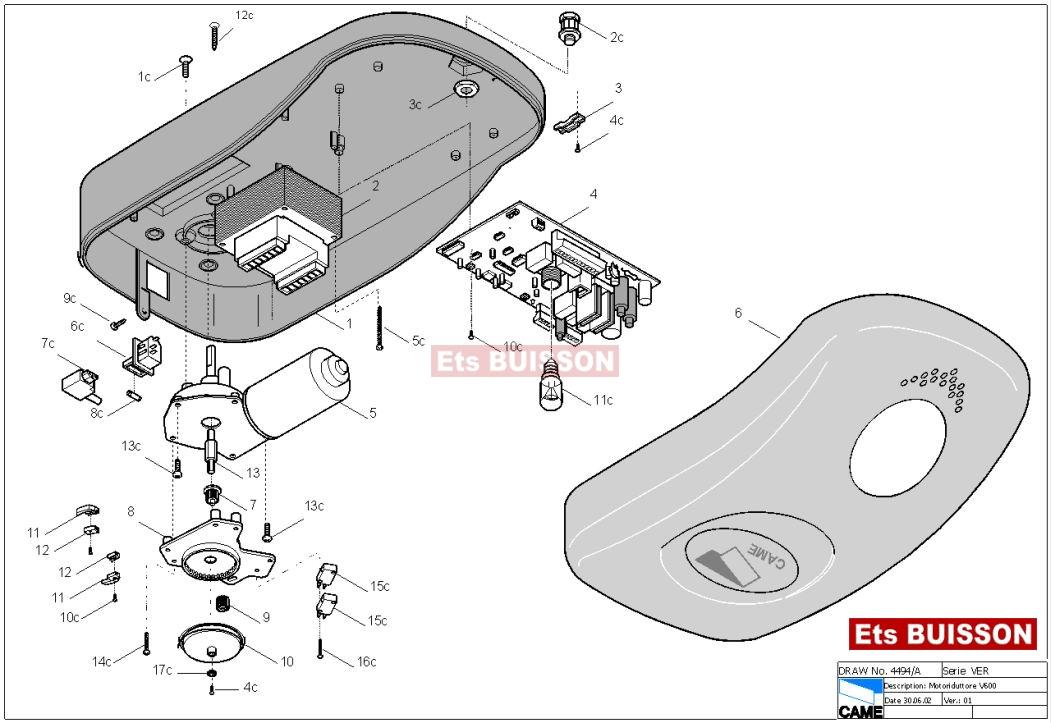 voir liste des pi ces d tach es came ver v600 v600e. Black Bedroom Furniture Sets. Home Design Ideas